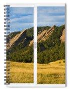 Boulder Colorado Flatirons White Window Frame Scenic View Spiral Notebook