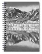 Boulder Reservoir Flatirons Reflections Boulder Co Bw Spiral Notebook