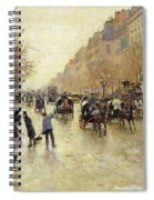 Boulevard Poissonniere In The Rain, C.1885 Oil On Canvas Spiral Notebook
