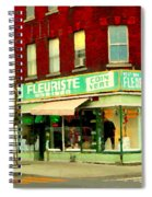 Boutique Fleuriste Coin Vert St Henri Flower Shop Notre Dame Montreal Urban Scenes Carole Spandau  Spiral Notebook