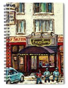 Boutique Mary Seltzer Dress Shop Cote St Luc Montreal Paintings Hockey Art City Scenes Cspandau Spiral Notebook