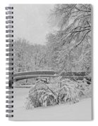 Bow Bridge In Central Park During Snowstorm Bw Spiral Notebook
