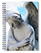 Bowing Male Angel With Blue Sky And Clouds Spiral Notebook