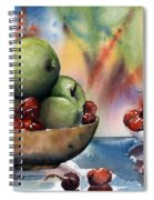 Apples In A Wooden Bowl With Cherries On The Side Spiral Notebook