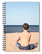 Boy At The Beach Flying A Kite Spiral Notebook