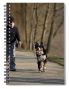 Boy Running With Dog Spiral Notebook