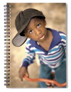 Boy Wearing Over Sized Hat Riding Bike Spiral Notebook