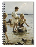 Boys Playing On The Shore Spiral Notebook