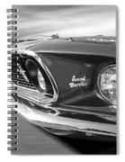 Breaking The Sound Barrier - Mach 1 428 Cobra Jet Mustang In Black And White Spiral Notebook