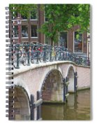 Bridge Over Canal With Bicycles  In Amsterdam Spiral Notebook