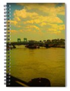Bridge With Puffy Clouds Spiral Notebook