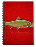 Brook Trout On Red Leather Spiral Notebook