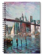 Brooklyn Bridge And Twin Towers Spiral Notebook