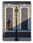Brown Shutter Doors And Street Lamp - New Orleans Spiral Notebook