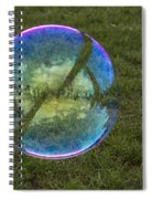 Bubble On Grass With St.johns Bridge Spiral Notebook