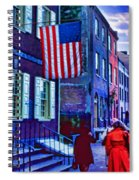 Buildings Flag Bright Red Coat Spiral Notebook