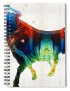 Bull Art - Love A Bull 2 - By Sharon Cummings Spiral Notebook