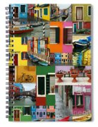 Burano Italy Collage Spiral Notebook