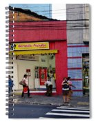 Bus Stop On Rua Teodoro Sampaio Spiral Notebook