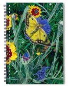 Butterfly And Wildflowers Spring Floral Garden Floral In Green And Yellow - Square Format Image Spiral Notebook