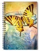 Butterfly Blue Glass Jar Spiral Notebook