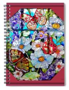 Butterfly Octagon Stained Glass Window Spiral Notebook