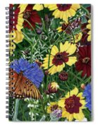 Butterfly Wildflowers Garden Oil Painting Floral Green Blue Orange-2 Spiral Notebook