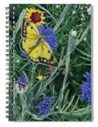 Butterfly Wildflowers Spring Time Garden Floral Oil Painting Green Yellow Spiral Notebook