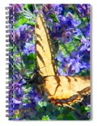 Butterfly With Purple Flowers 3 Spiral Notebook