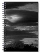 Bw Clouds Over Mt Adams Spiral Notebook