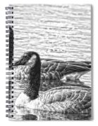 Bw Hdr Geese On The Pond I Spiral Notebook