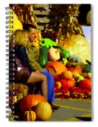 Cabbage Patch Kids - Giant Pumpkins - Marche Atwater Montreal Market Scene Art Carole Spandau Spiral Notebook