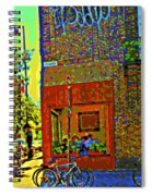 Cafe Window Corner Rue Fabre Near The Bicycle Stand Art Of Montreal Summer Street Scene  Spiral Notebook