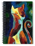 Calico Cat Abstract In Moonlight Spiral Notebook