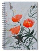 California Poppies Sumi-e Spiral Notebook