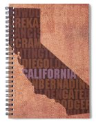 California Word Art State Map On Canvas Spiral Notebook