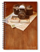 Camera Map And Postcards Spiral Notebook
