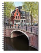 Canal Bridge And Houses In Amsterdam Spiral Notebook