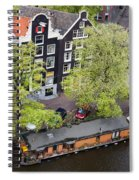 Canal Houses And Houseboat In Amsterdam Spiral Notebook