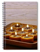 Candles In Wood Tray Spiral Notebook