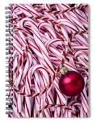Candy Cane And Red Ornament Spiral Notebook