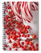 Candy Canes And Red Berries Spiral Notebook