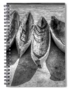 Canoes In Black And White Spiral Notebook