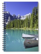 Canoes In Moraine Lake And Valley Of Spiral Notebook