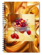 Cappuccino Abstract Collage Cherries Spiral Notebook