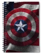 Captain America Shield On Usa Flag Spiral Notebook