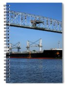 Cargo Ship Under Bridge Spiral Notebook