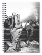Caricature Of The Romantic Writer Searching His Inspiration In The Hashish Spiral Notebook
