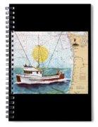 Carina Trawl Fishing Boat Nautical Chart Map Art Spiral Notebook