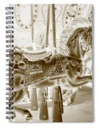 Carousel In Negative Sepia Spiral Notebook